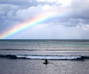 beach, nature, and rainbow image