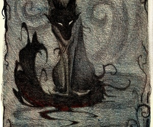 art, black, and wolf image