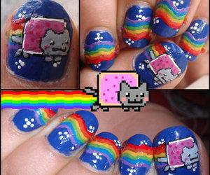 nails, cat, and nyan image