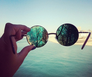 glasses, sea, and summer image