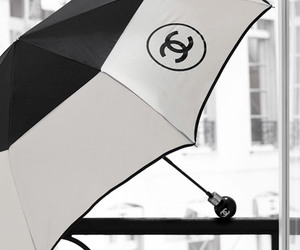 chanel, umbrella, and black and white image