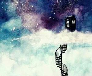 blue box, cloud, and tardis image