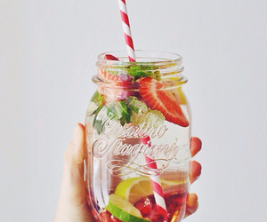drink, food, and strawberries image