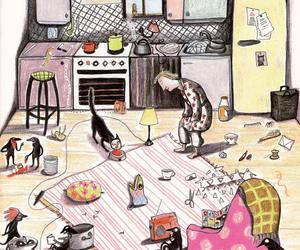cat, chaos, and kitchen image