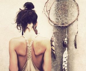 bohemian, girl, and dream catcher image