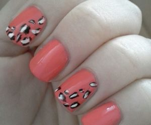 coral, leopard, and nail art image