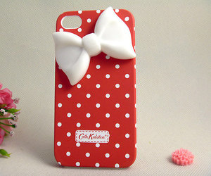 bow, cute, and red image