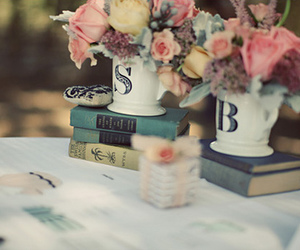 books, vintage, and boquet image