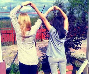 best friends, blond, and brunette image