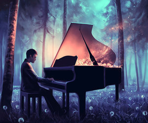 piano, art, and forest image