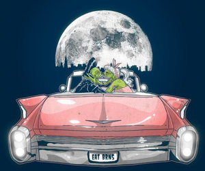 car, moon, and zombie image