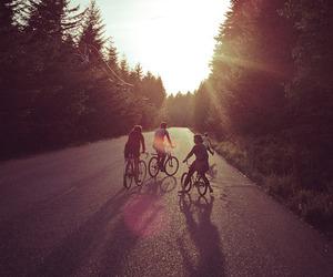 friends, bike, and nature image