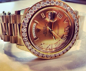 watch, rolex, and gold image