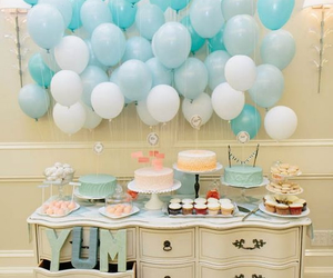 balloons, party, and blue image