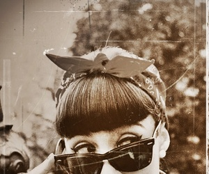 vintage, black and white, and sunglasses image