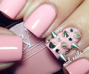 nails, pink, and spikes image
