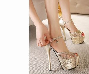 fashion, golden, and heels image