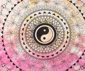 pink, yin yang, and wallpaper image