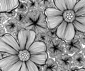 drawing, flower, and ink image