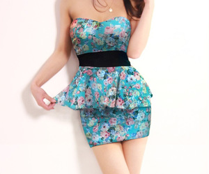 floral dress, women dress, and slim dress image