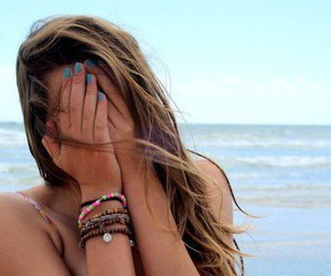 beach, hair, and hands image