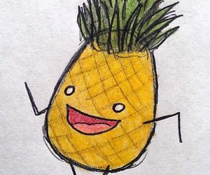 drawing, happy, and pineapple image