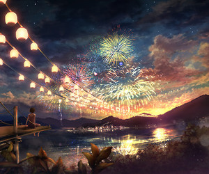 fireworks, anime, and light image