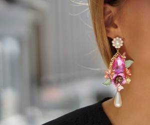 fashion, earrings, and pink image