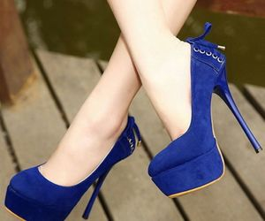 heels, blue, and shoes image