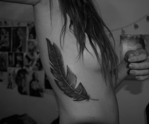 chest tattoo, feather, and feather tattoo image