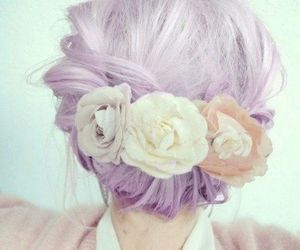 flower, hair, and purple image