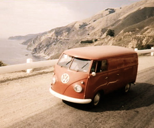 red, vintage, and vw bus image
