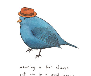bird, drawing, and hat image