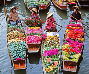 flowers, fruit, and boat image