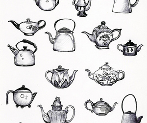 teapot, tea, and black and white image