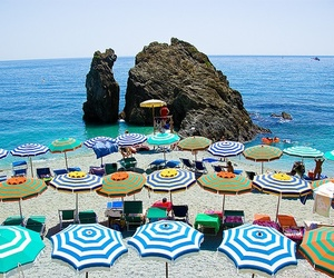 beach, beach umbrella, and cinque terre image