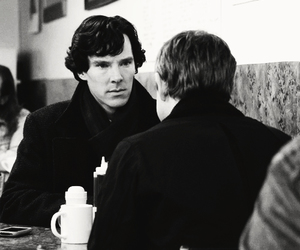 black and white, holmes, and Martin Freeman image