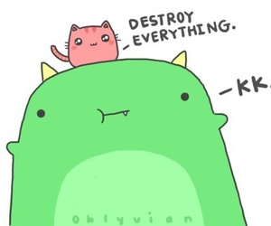 cute, cat, and destroy image