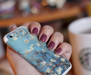 nails, starbucks, and flowers image