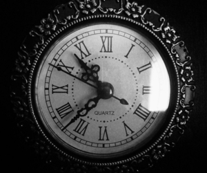 clock, black and white, and numbers image