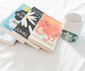 books, coffee, and starbucks image