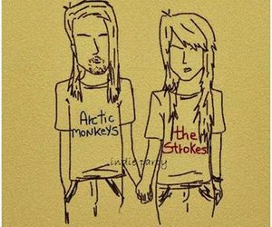 arctic monkeys, the strokes, and couple image