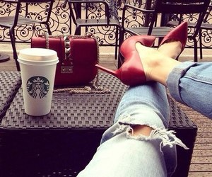 fashion, starbucks, and red image