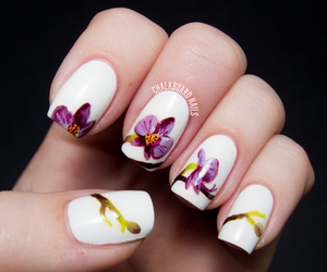 nail art, orchid, and flowers image