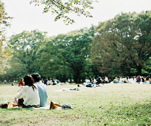 couple, park, and trees image
