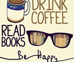 books, coffee, and happiness image