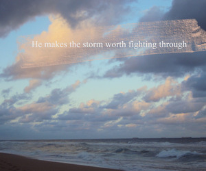 beach, never give up, and typography image