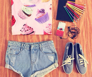 colours, vans, and outfit image