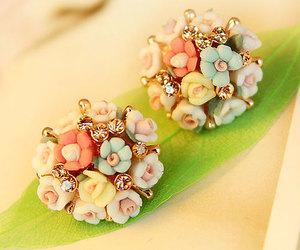 flower ball, flower earring, and stud earring image