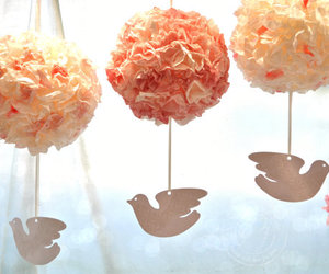 peach pink, flower poms, and coffee filter balls image